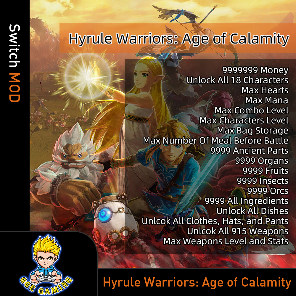 Hyrule Warriors Age Of Calamity Switch Mod Max Hearts Money Items Weapons Ebay